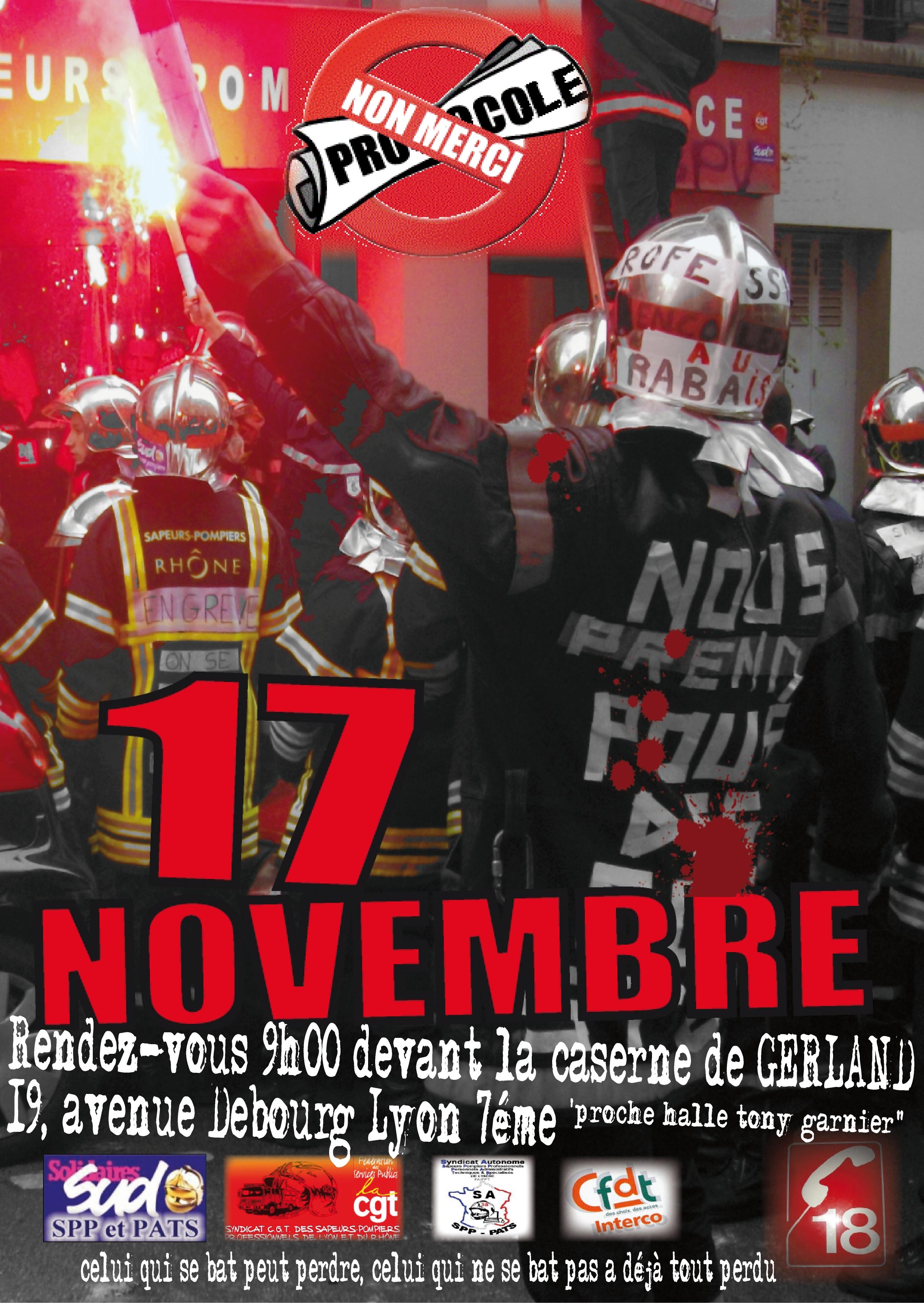 17 novembre manifestation et greve dans le rhone syndicat sud sdis 69. Black Bedroom Furniture Sets. Home Design Ideas